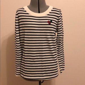 J Crew tippi cherry stripes sweater size Small